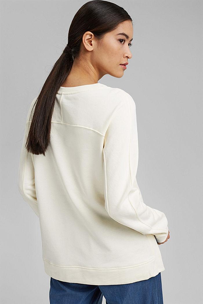 Sweatshirt mit Schlitzen, Organic Cotton, OFF WHITE, detail image number 3