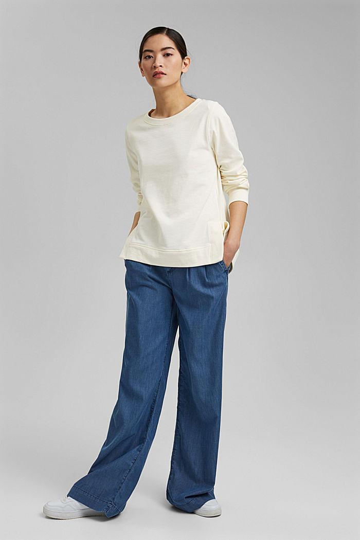 Sweatshirt mit Schlitzen, Organic Cotton, OFF WHITE, detail image number 1