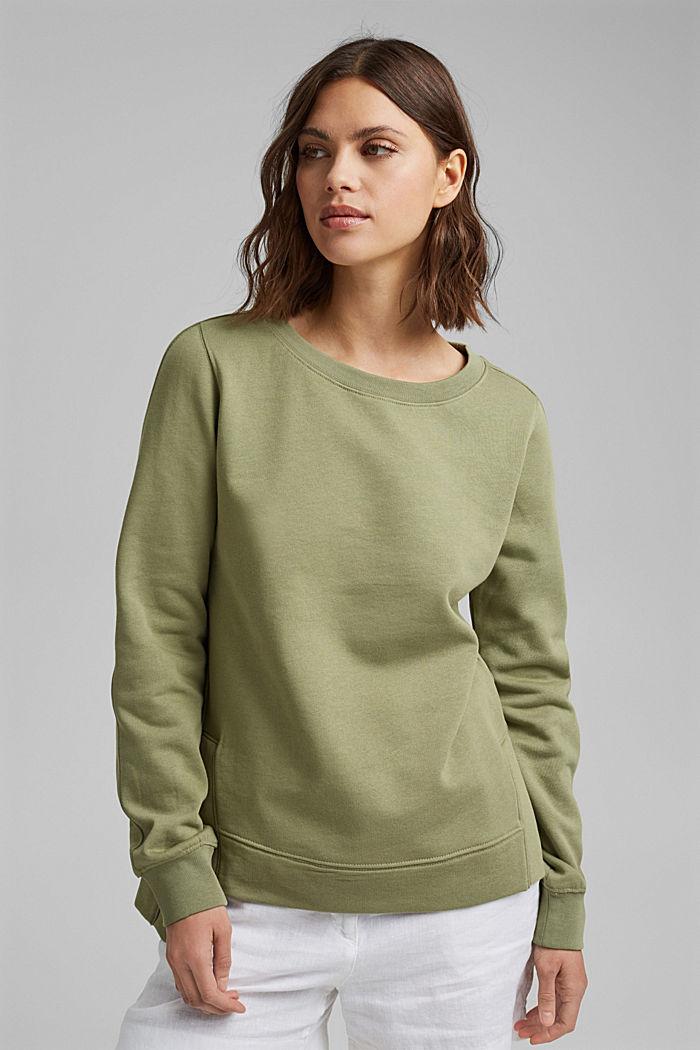 Sweater met splitten, biologisch katoen, LIGHT KHAKI, detail image number 0