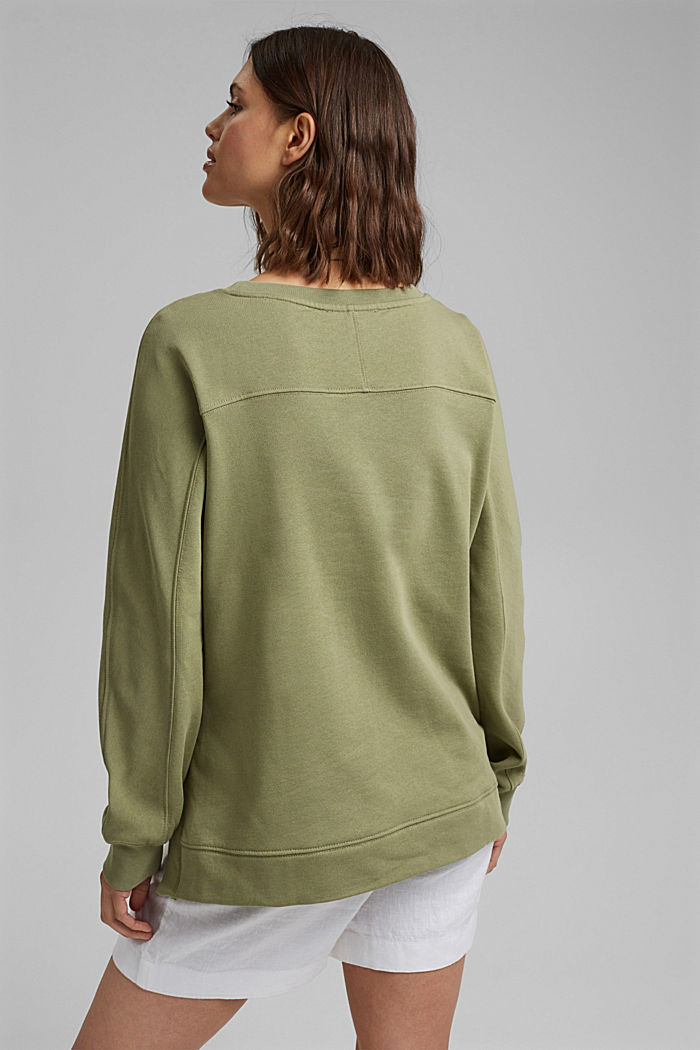 Sweater met splitten, biologisch katoen, LIGHT KHAKI, detail image number 3