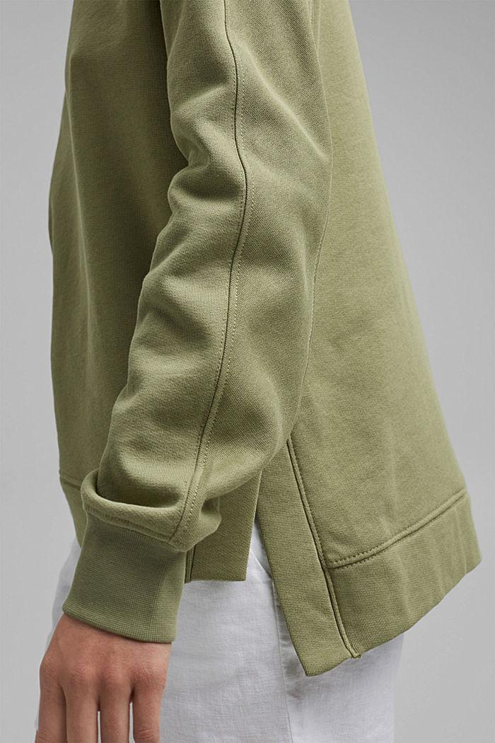 Sweater met splitten, biologisch katoen, LIGHT KHAKI, detail image number 2