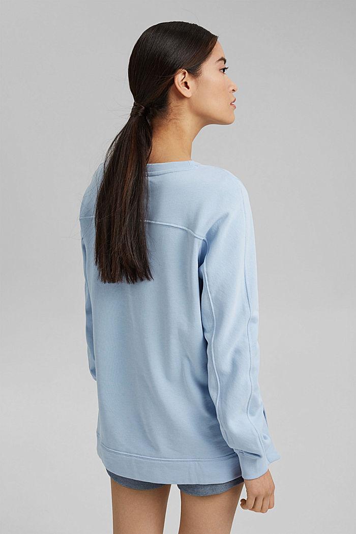 Sweater met splitten, biologisch katoen, LIGHT BLUE, detail image number 3