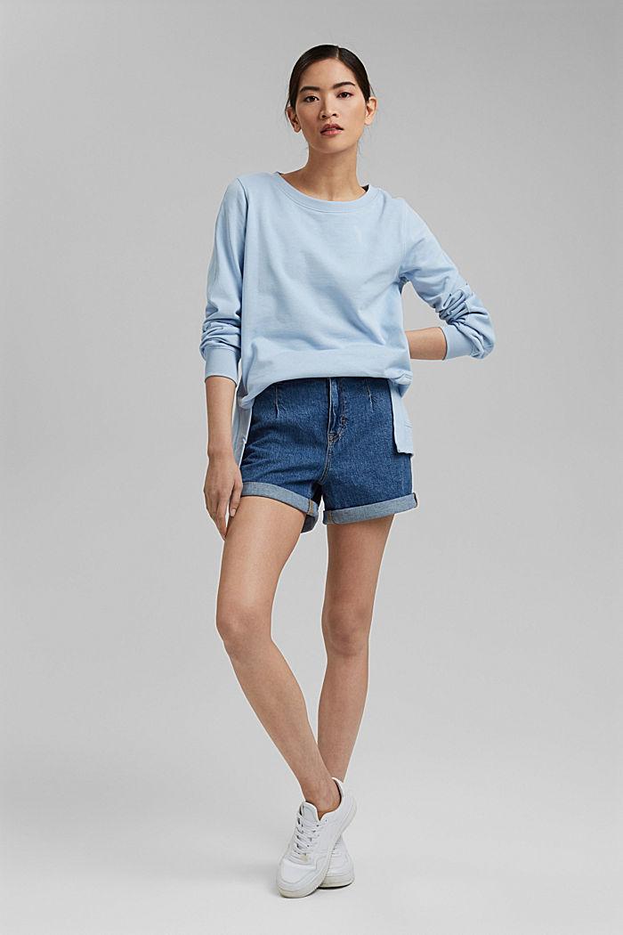 Sweater met splitten, biologisch katoen, LIGHT BLUE, detail image number 1