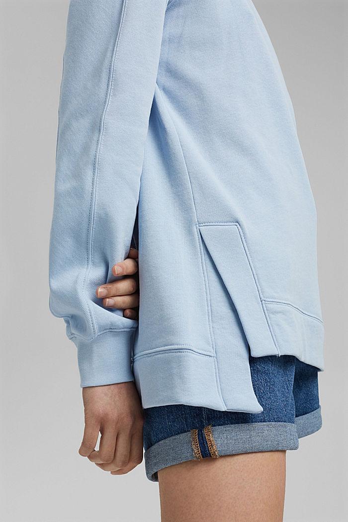 Sweater met splitten, biologisch katoen, LIGHT BLUE, detail image number 2