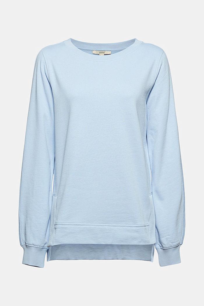 Sweater met splitten, biologisch katoen, LIGHT BLUE, detail image number 6
