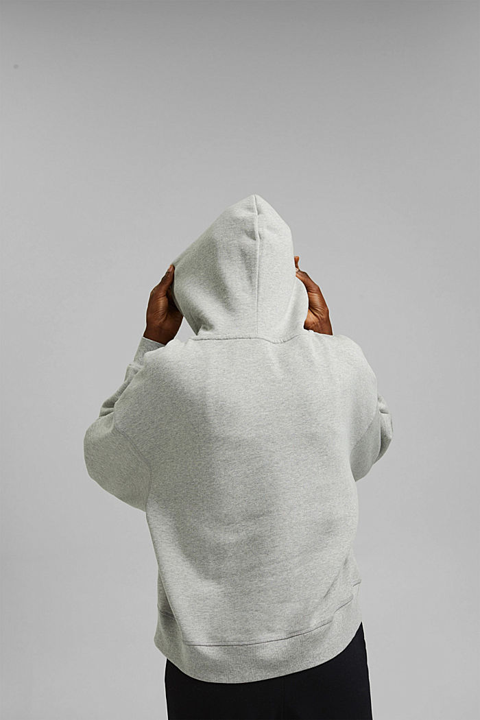 Hooded sweatshirt made of 100% cotton, LIGHT GREY, detail image number 3