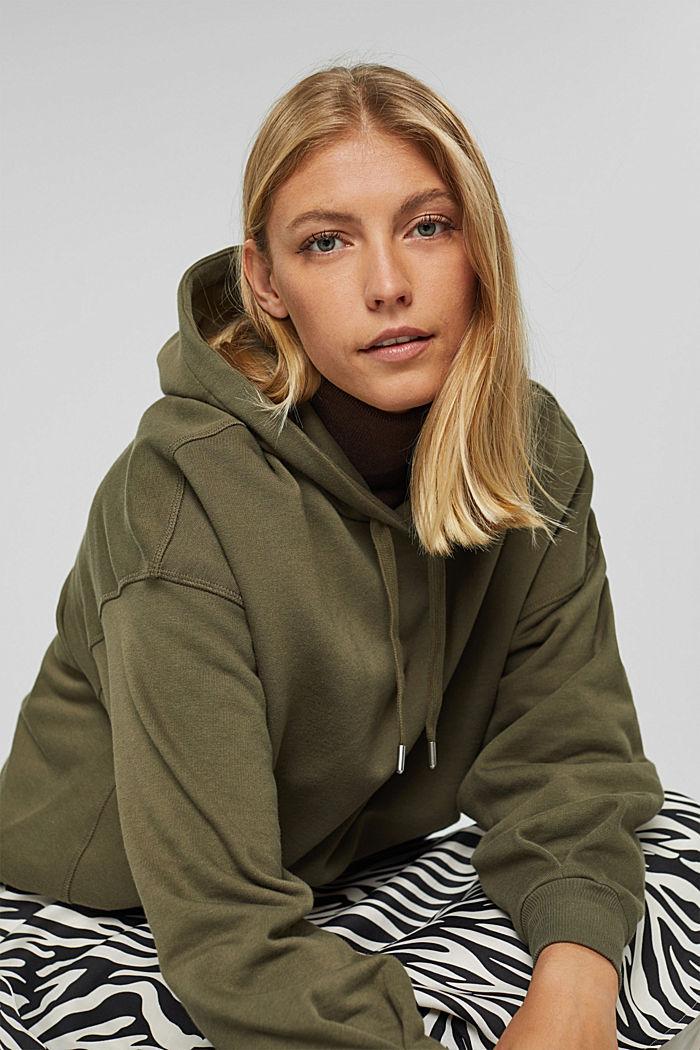 Hooded sweatshirt made of 100% cotton, DARK KHAKI, detail image number 6