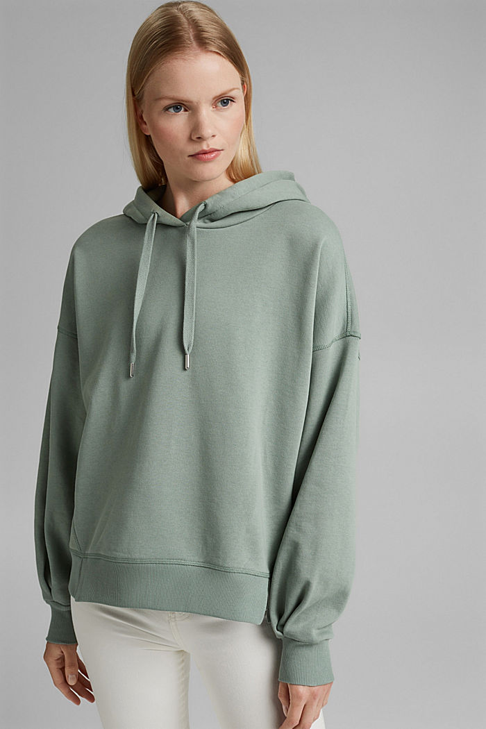 Hooded sweatshirt made of 100% cotton, TURQUOISE, detail image number 0