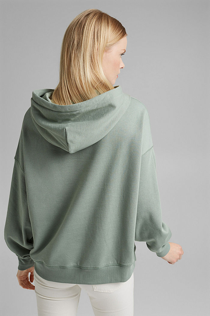 Hooded sweatshirt made of 100% cotton, TURQUOISE, detail image number 3