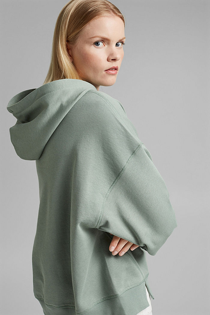 Hooded sweatshirt made of 100% cotton, TURQUOISE, detail image number 5