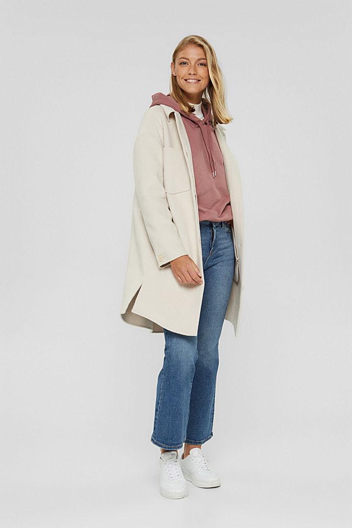 Hooded sweatshirt made of 100% cotton, DARK OLD PINK, detail image number 1
