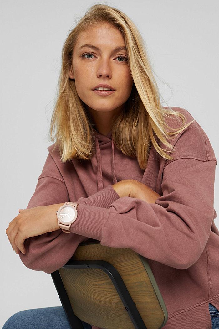 Hooded sweatshirt made of 100% cotton, DARK OLD PINK, detail image number 6