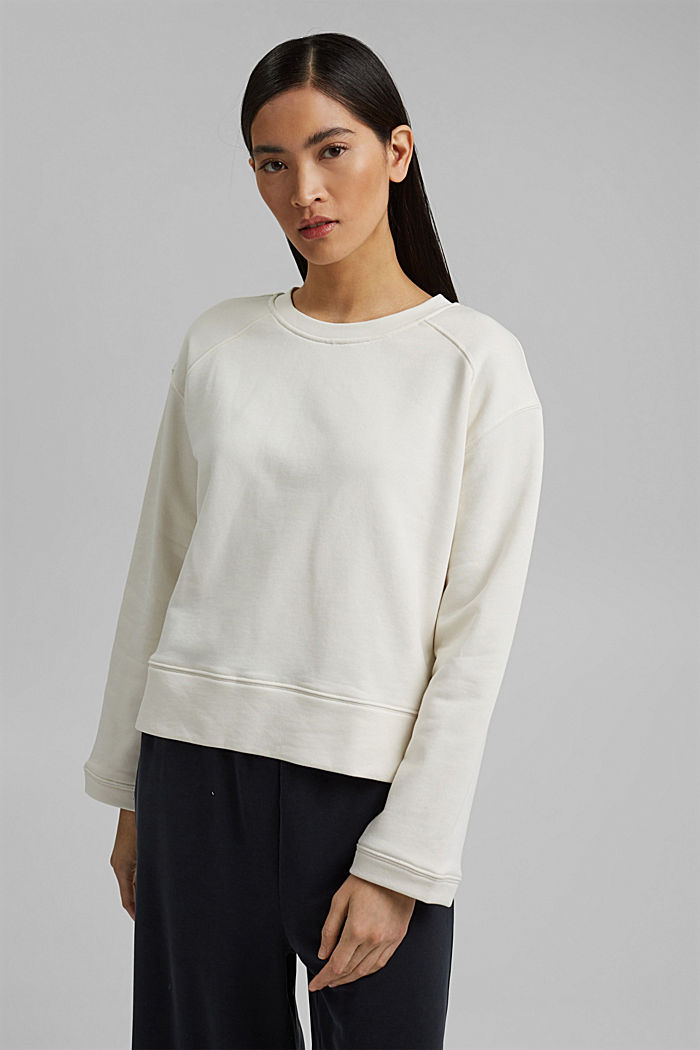 Striped sweatshirt in 100% cotton, OFF WHITE, detail image number 0