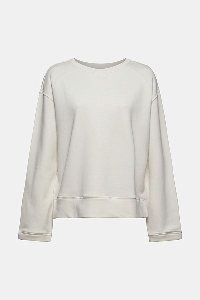 Striped sweatshirt in 100% cotton, OFF WHITE, detail image number 6
