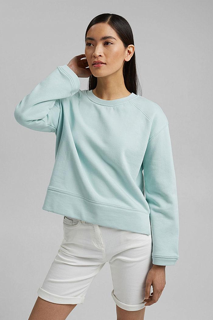 Striped sweatshirt in 100% cotton, LIGHT AQUA GREEN, detail image number 0