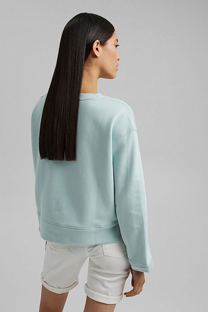 Striped sweatshirt in 100% cotton, LIGHT AQUA GREEN, detail image number 3