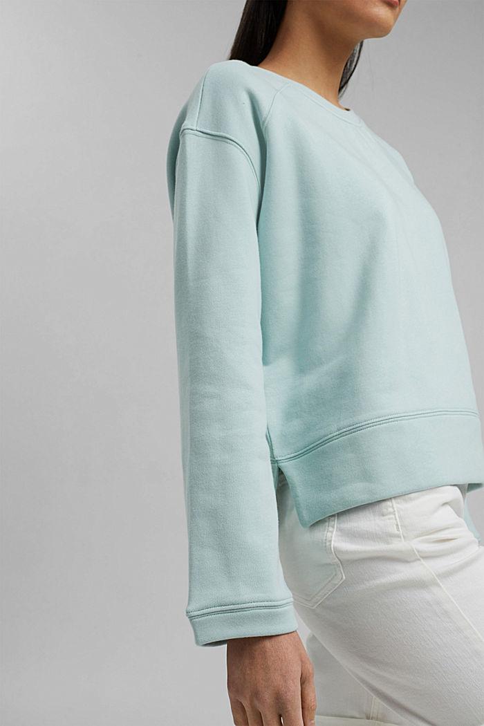 Striped sweatshirt in 100% cotton, LIGHT AQUA GREEN, detail image number 2