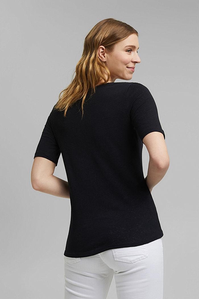 Linen blend: basic T-shirt, BLACK, detail image number 3