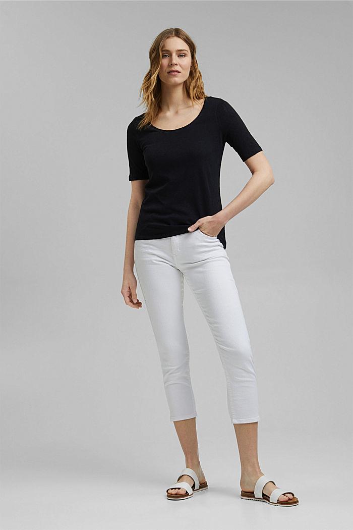Linen blend: basic T-shirt, BLACK, detail image number 1