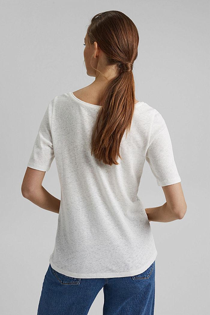À teneur en lin: t-shirt basique, OFF WHITE, detail image number 3