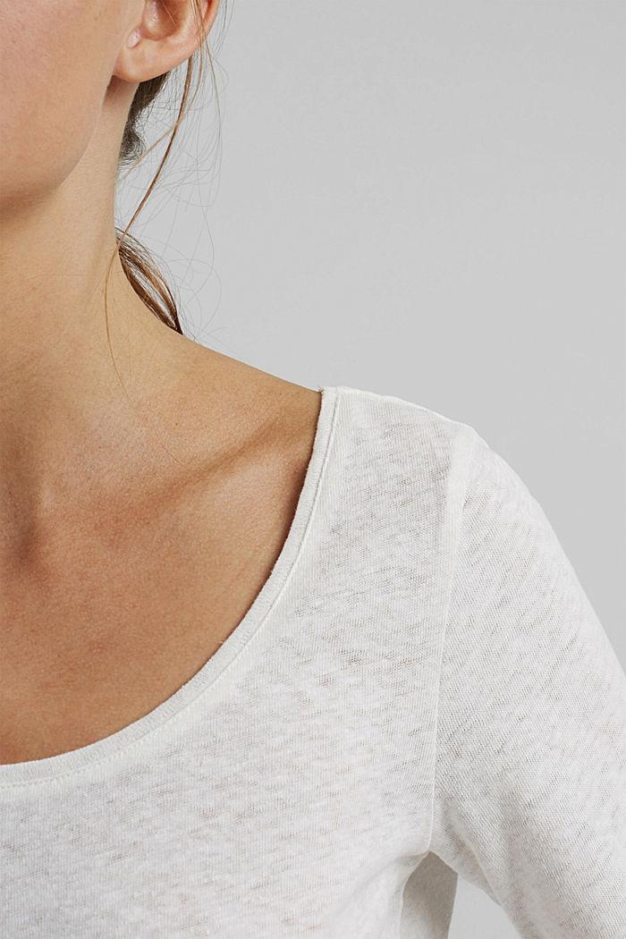 À teneur en lin: t-shirt basique, OFF WHITE, detail image number 2