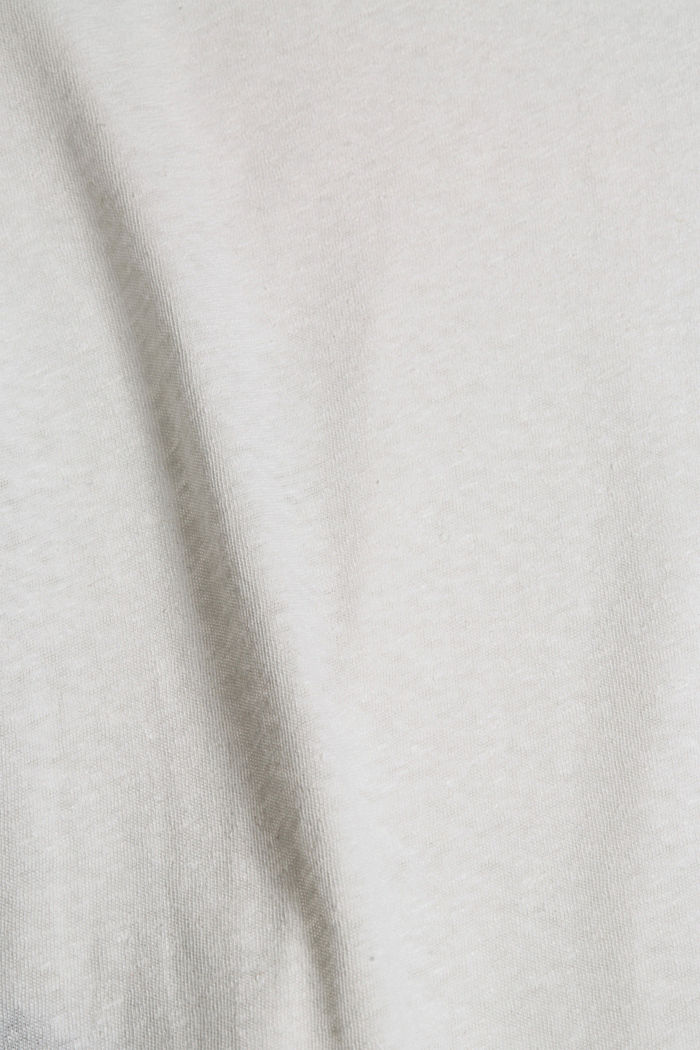 À teneur en lin: t-shirt basique, OFF WHITE, detail image number 4