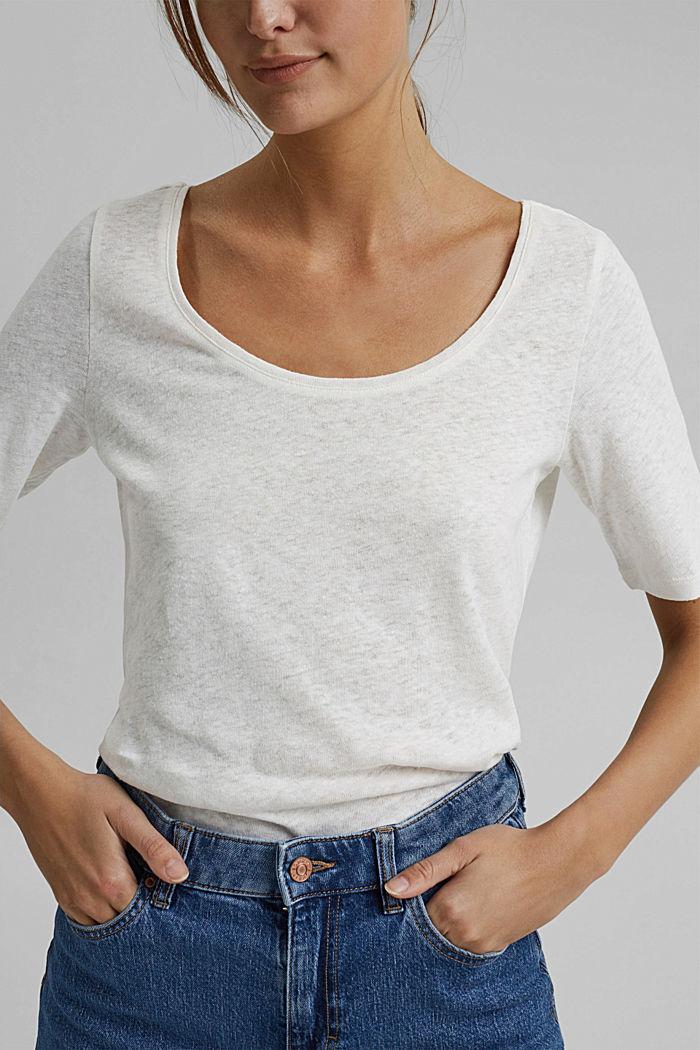 À teneur en lin: t-shirt basique, OFF WHITE, detail image number 5