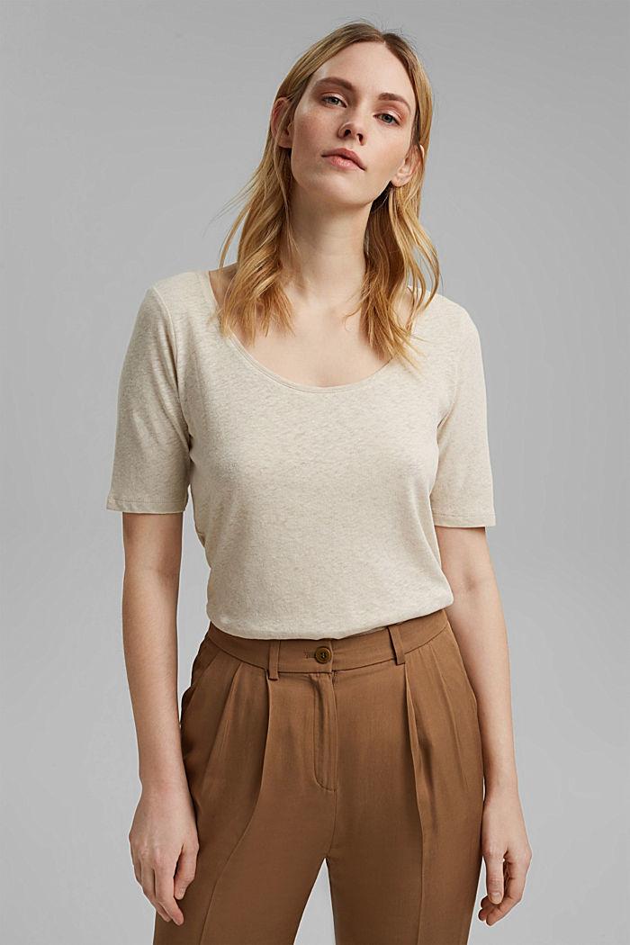Linen blend: basic T-shirt, LIGHT BEIGE, detail image number 0