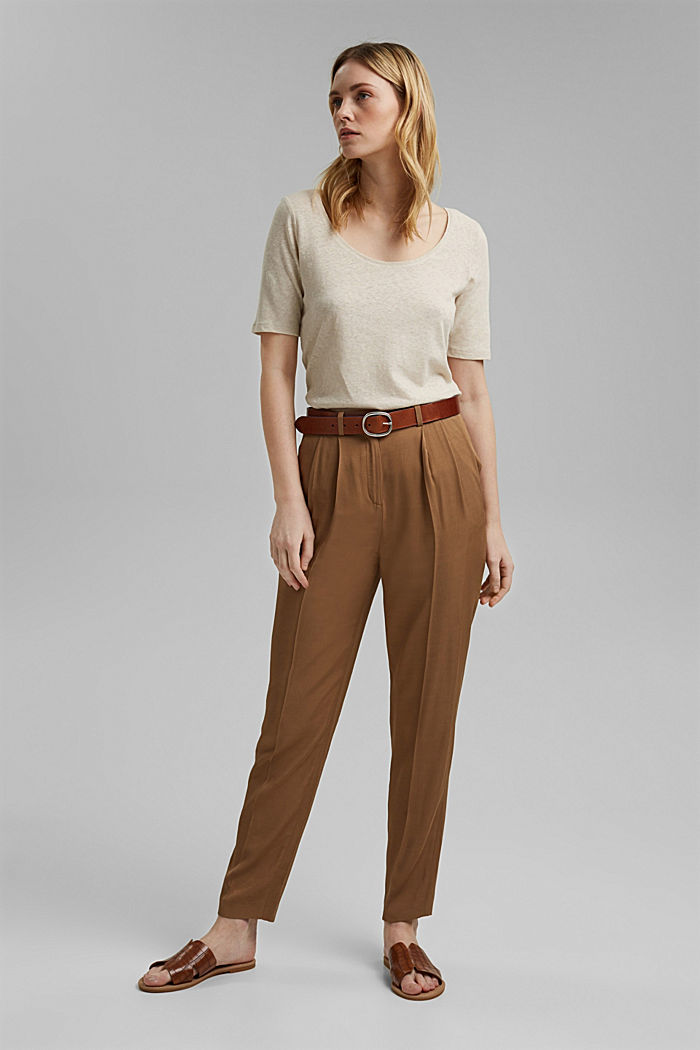 Linen blend: basic T-shirt, LIGHT BEIGE, detail image number 1