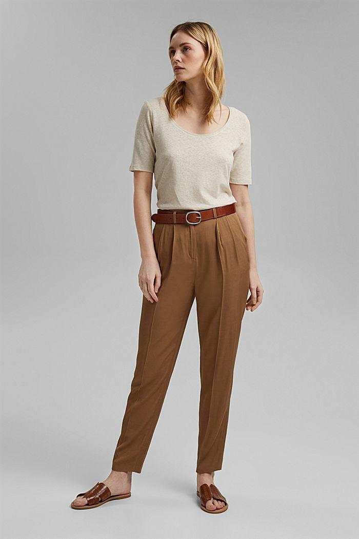 Con lino: t-shirt basic, LIGHT BEIGE, detail image number 1