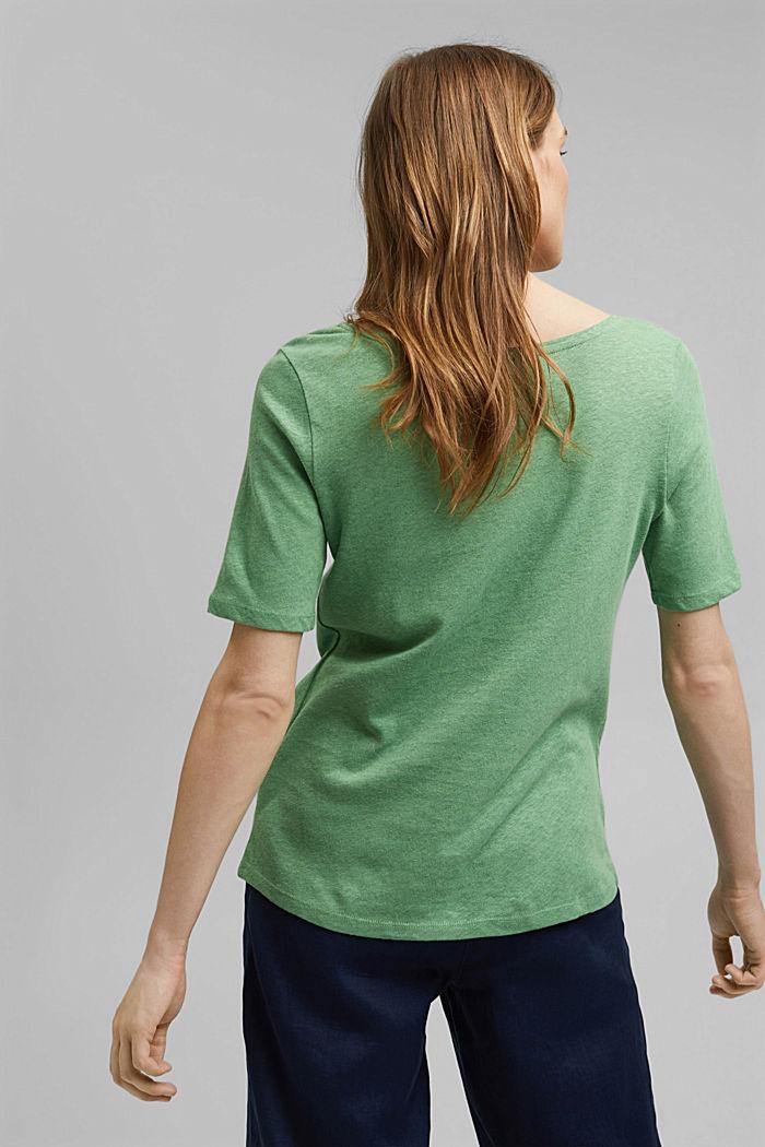 Met linnen: basic T-shirt, LEAF GREEN, detail image number 3