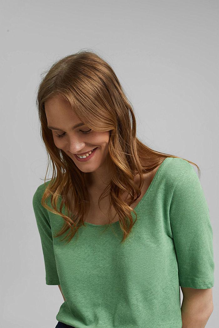 Met linnen: basic T-shirt, LEAF GREEN, detail image number 5