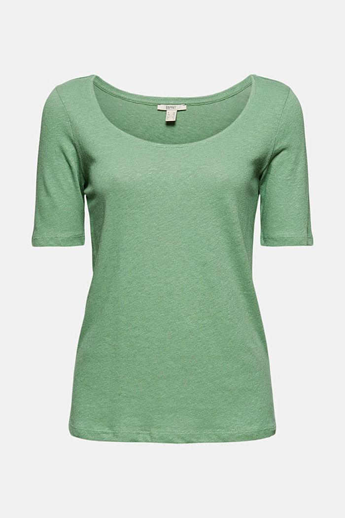 Met linnen: basic T-shirt, LEAF GREEN, detail image number 6