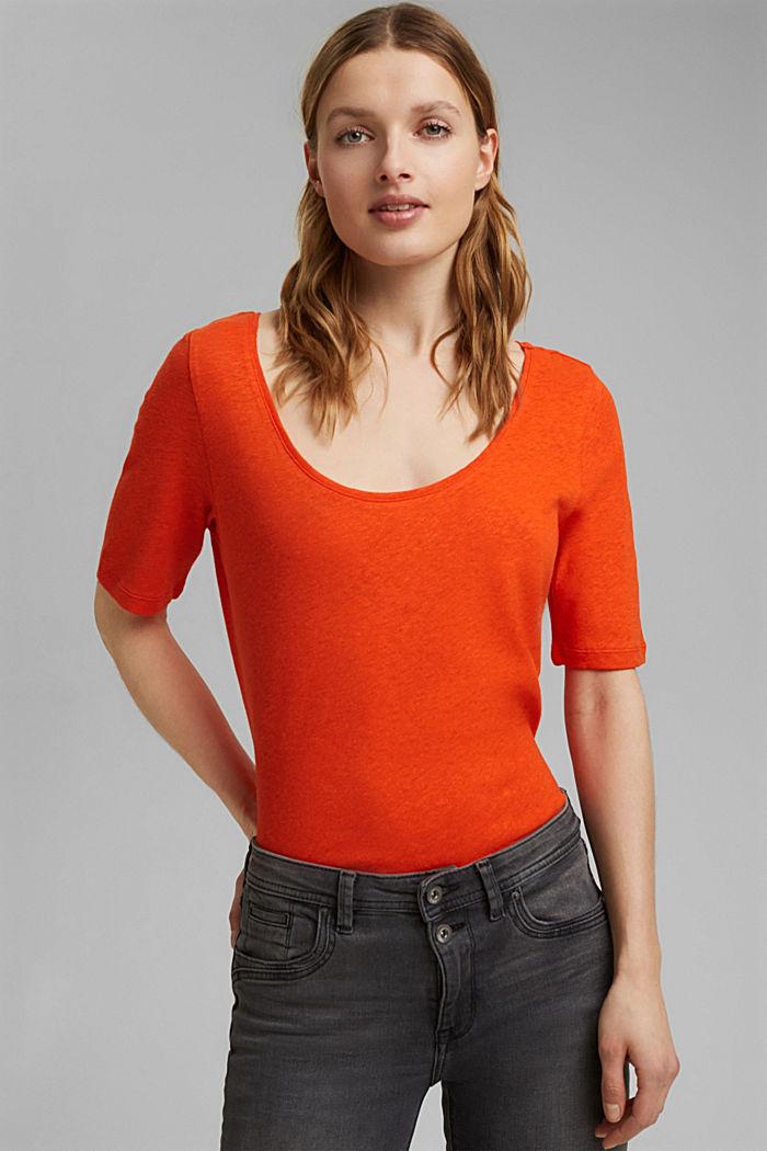 Con lino: camiseta básica, ORANGE RED, detail image number 0