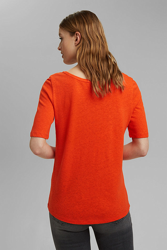 Con lino: camiseta básica, ORANGE RED, detail image number 3