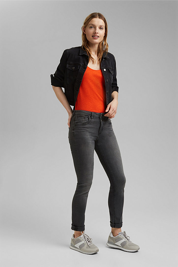 Con lino: camiseta básica, ORANGE RED, detail image number 1