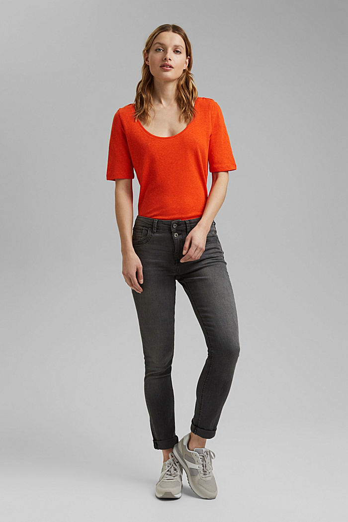 Con lino: camiseta básica, ORANGE RED, detail image number 6