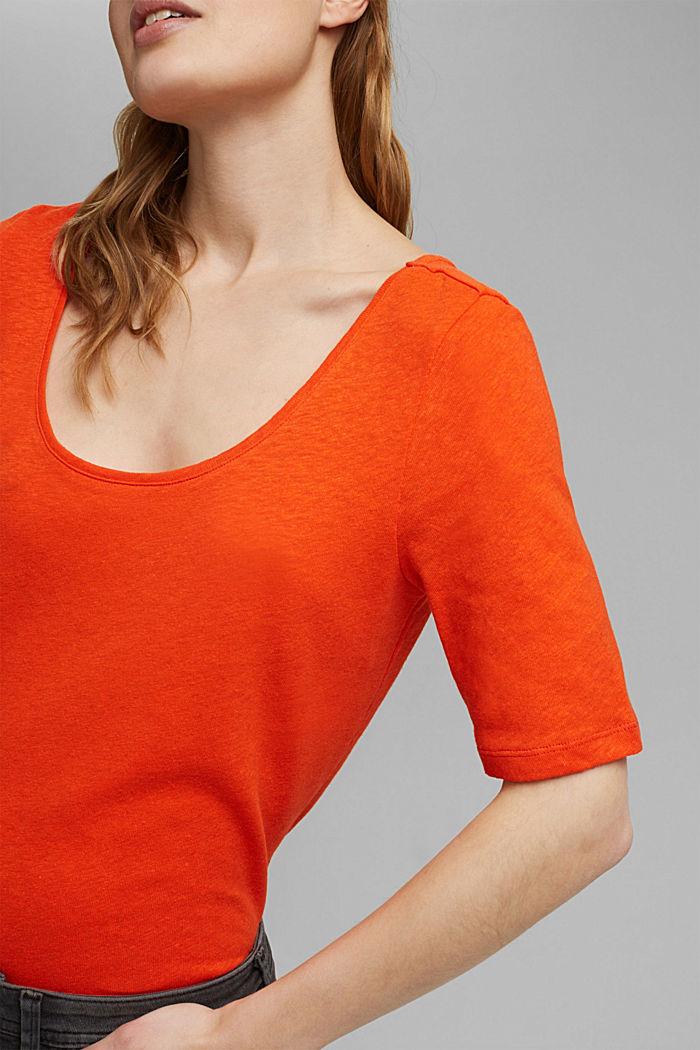 Con lino: camiseta básica, ORANGE RED, detail image number 2