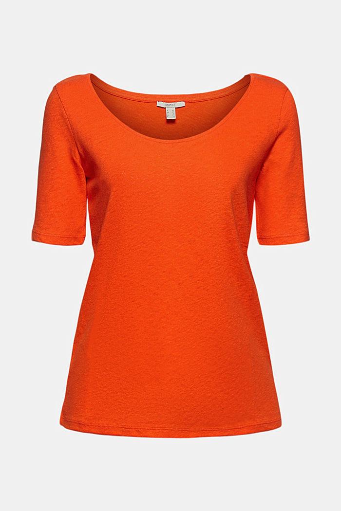 Con lino: camiseta básica, ORANGE RED, detail image number 7
