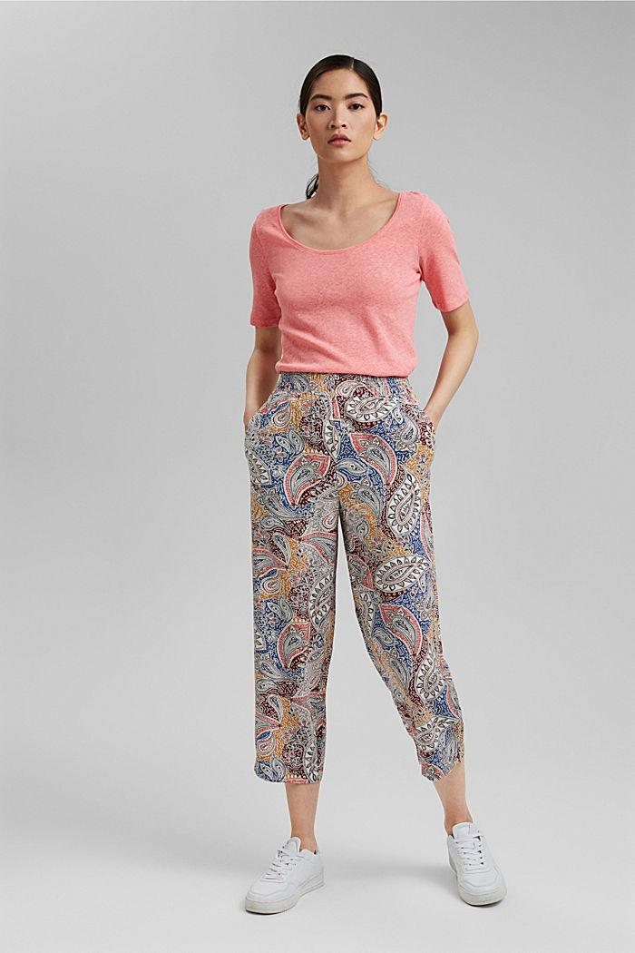 Linen blend: basic T-shirt, CORAL, detail image number 1