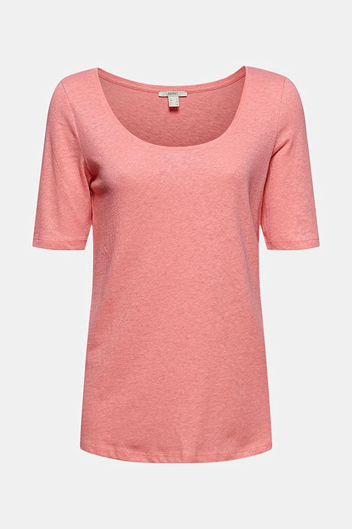 Linen blend: basic T-shirt, CORAL, detail image number 5