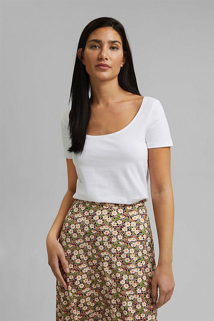 Basic T-shirt in organic cotton, WHITE, detail image number 0