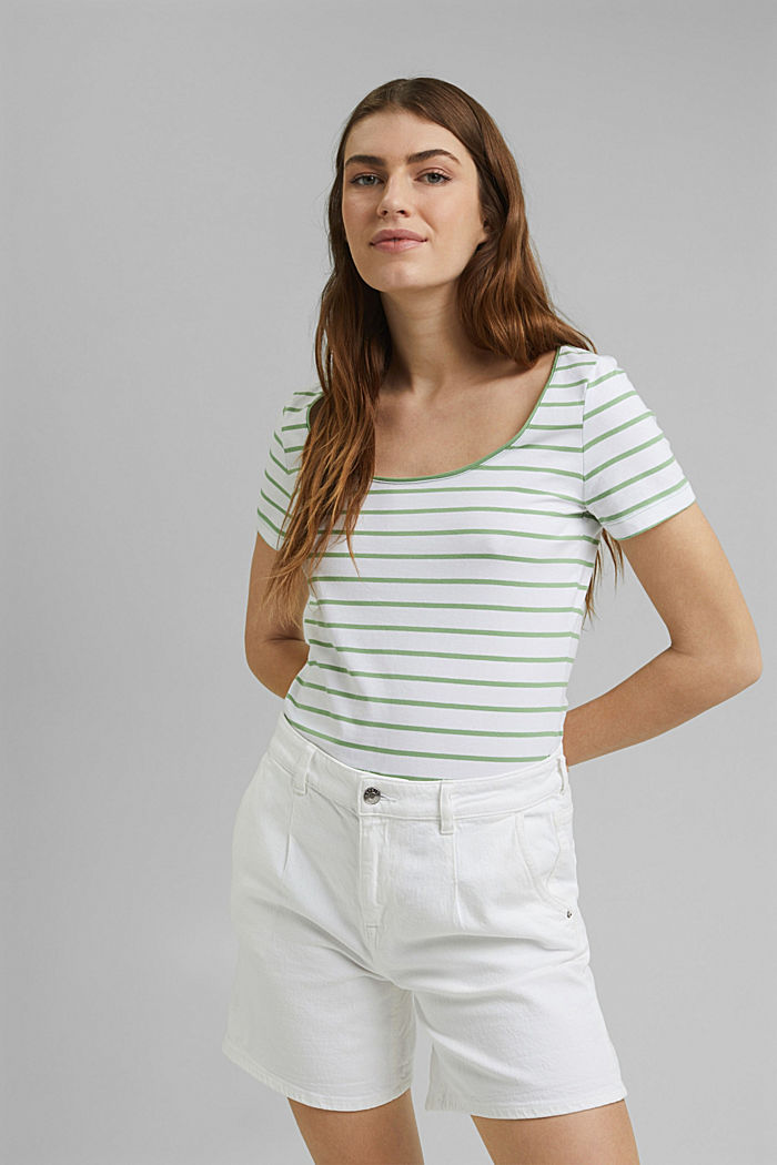 Striped T-shirt made of stretch organic cotton, LEAF GREEN, detail image number 0