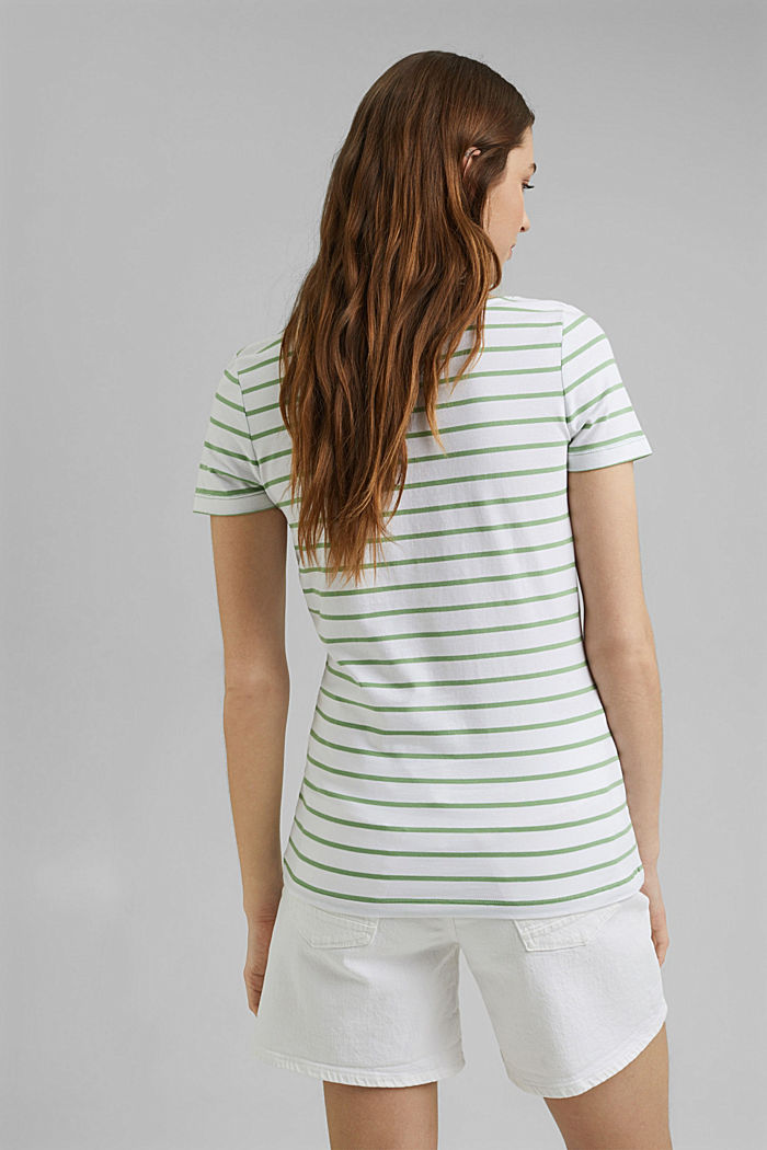 Striped T-shirt made of stretch organic cotton, LEAF GREEN, detail image number 3