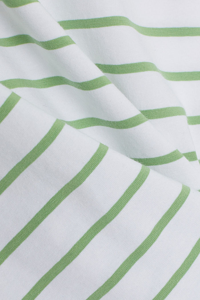 Striped T-shirt made of stretch organic cotton, LEAF GREEN, detail image number 4