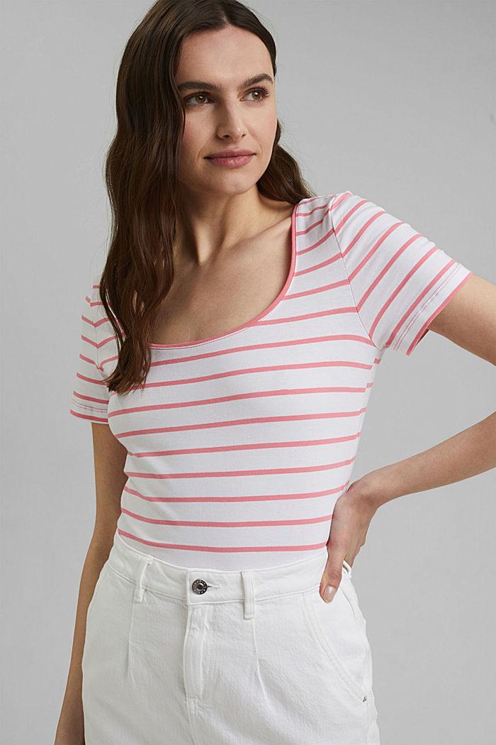 Gestreept T-shirt van biologisch katoen/stretch, CORAL, detail image number 0