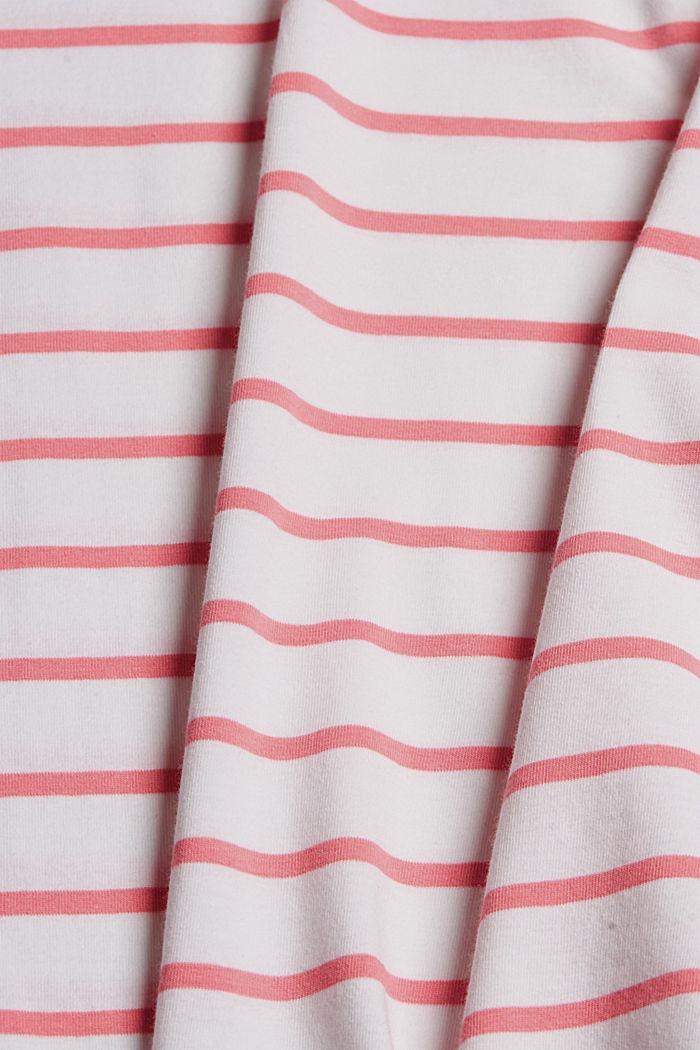 Gestreept T-shirt van biologisch katoen/stretch, CORAL, detail image number 4