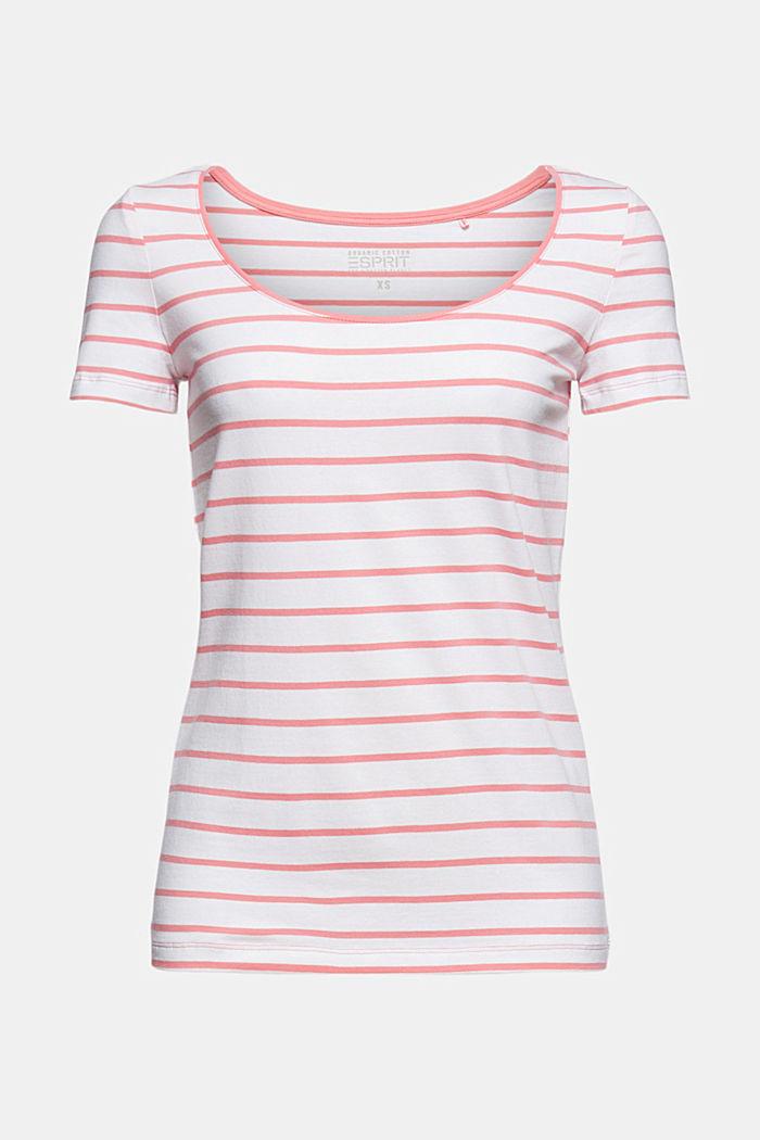 Gestreept T-shirt van biologisch katoen/stretch, CORAL, detail image number 6