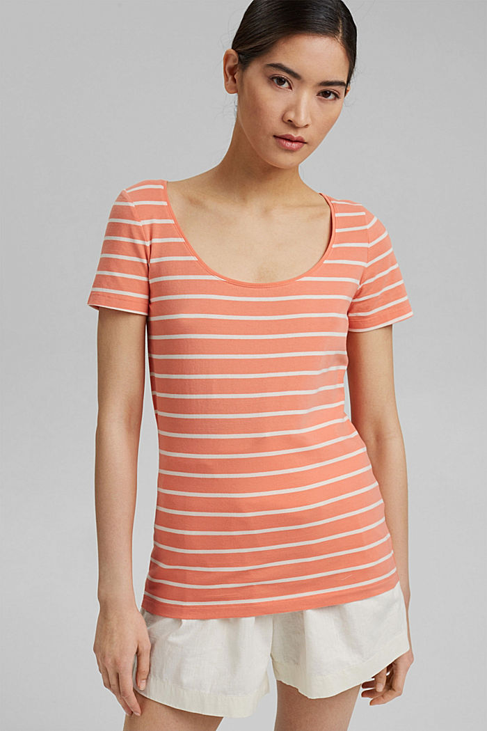 Striped T-shirt made of stretch organic cotton, CORAL ORANGE, detail image number 0