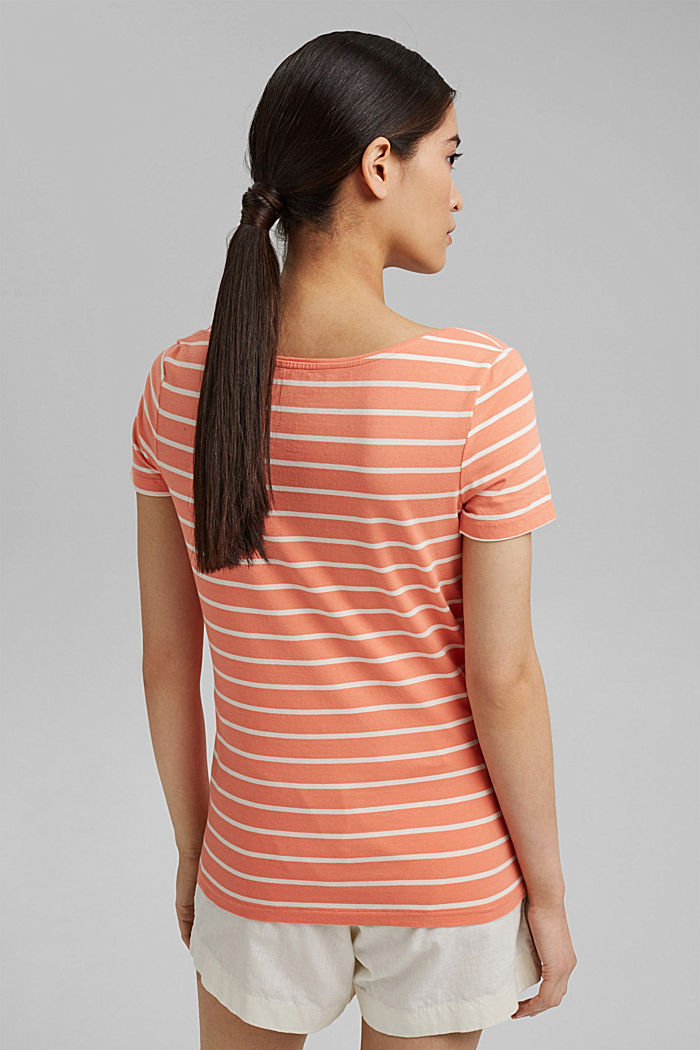 Striped T-shirt made of stretch organic cotton, CORAL ORANGE, detail image number 3